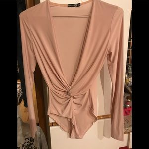 Boohoo blush long sleeve bodysuit